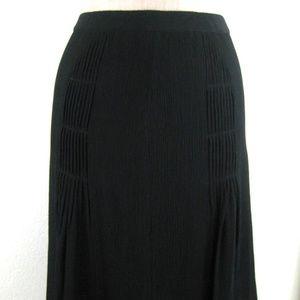 Ann Taylor Silk Black Skirt Soft Pleat Semi Sheer